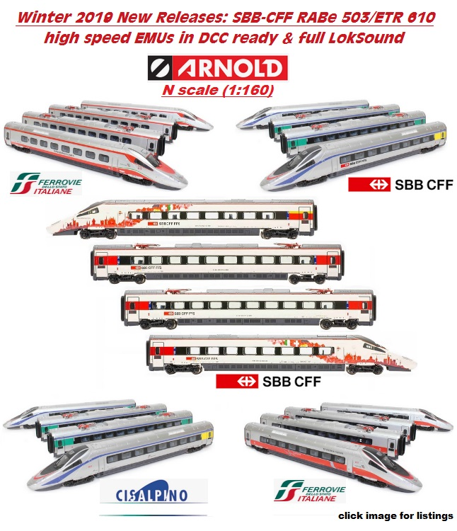 ARNOLD NEW N scale RABe503 / ETR610 high speed EMUs, DCC ready & LokSound