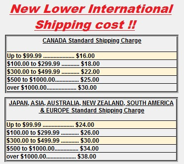 NEW LOWER INTERNATIONAL SHIPPING CHARGE