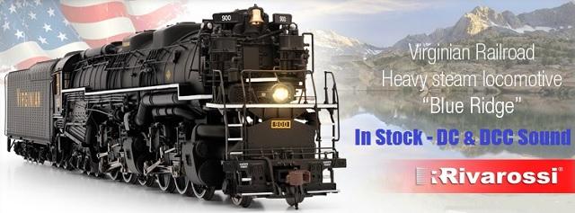 RIVAROSSI HR2407 + HR2408 Steam Locomotive Virginian Railroad Blue Ridge